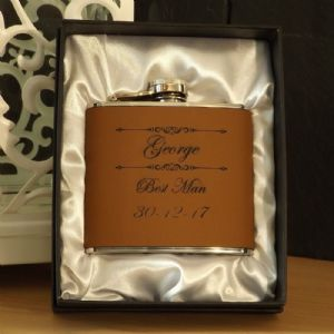Personalised 5oz Oak Brown Leather Hip Flask Gift Boxed